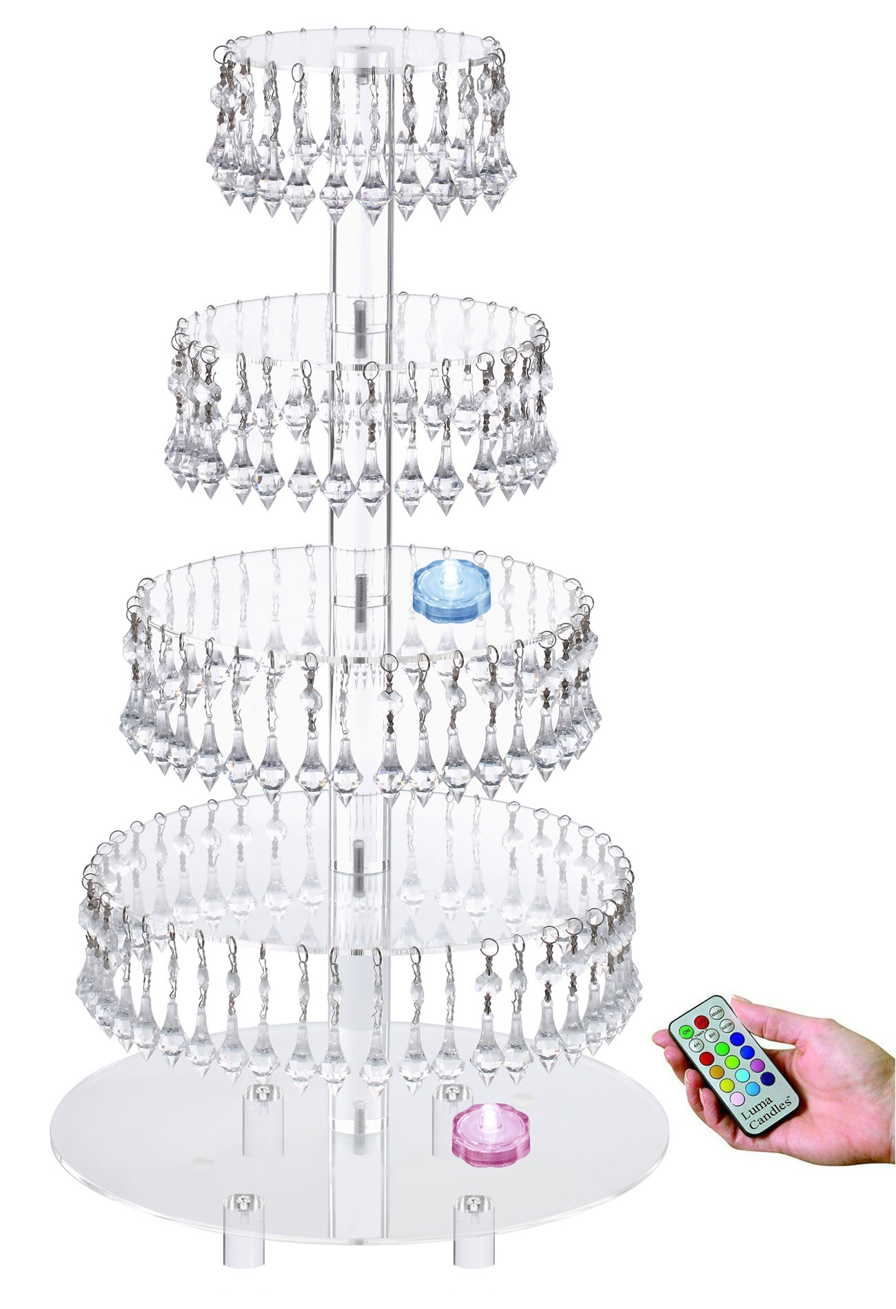 Pre-Installed Crystal Beads- 5 tier Acrylic Cupcake Tower Stand with Hanging Crystal Bead-wedding Party Cake Tower (5 Tier With Feet+LED Light)