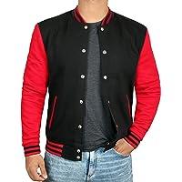 cc2b5f6eed Black and Red Letterman Jacket Men - High School Varsity Mens Baseball  Jacket