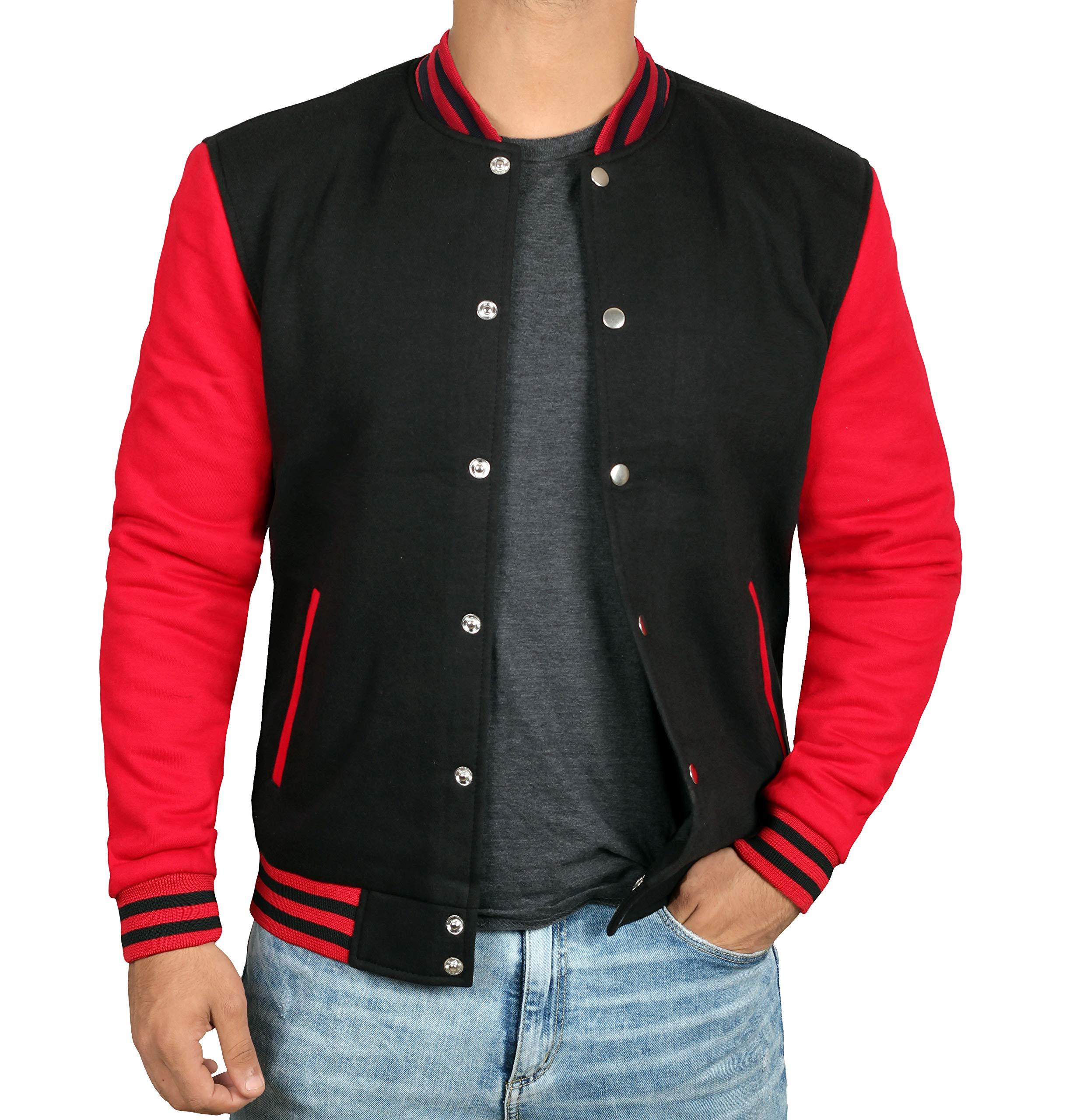 Black and Red Varsity Jacket Men - Baseball Jacket | Plain Red Sleve | M by Decrum