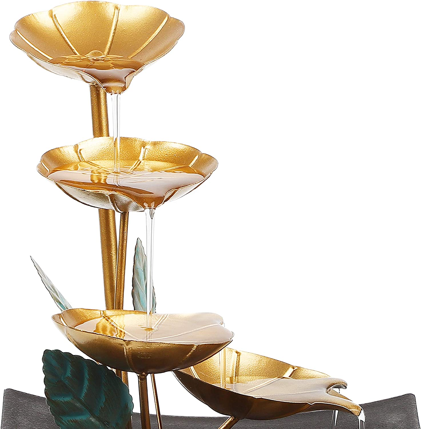 Ferrisland Lily Waterfall Fountain Indoor Tabletop Fountain Water Over Metal Flowers and Leaves, Electric Pump, Soothing Calming and Relaxing Water Sound for Home Décor: Home & Kitchen