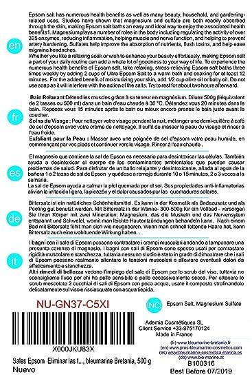 Sales Epsom Puras - Magnesio Natural ○ Eliminar las toxinas y metales pesados ○ 250g ○ Exfoliante Facial y Corporal 100% Natural ○ Sulfato de Magnesio ...