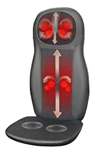 Zyllion ZMA-14-BK Shiatsu Massage Cushion with Heat (Black)- One Year Warranty