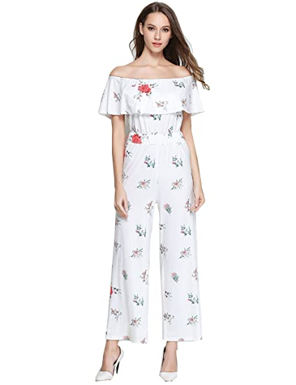 7c41d345d7 GUANYY Women s Floral Printed Sexy Off Shoulder Ruffle High Waisted Wide  Leg Long Pants Jumpsuits Rompers