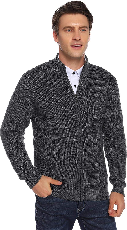 Aibrou Suéter de Punto Hombre Jersey con Cremallera Otoño e Invierno Clásico Jerséis con Cuello Redondo Sweater Cómodo y Cálido Talla S-XXL