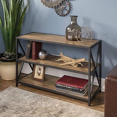 WE Furniture 40  x-Frame Metal & Wood Media Bookshelf
