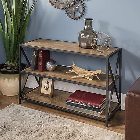 WE Furniture 40 x-Frame Metal Wood Media Bookshelf – Barnwood, 40 ,