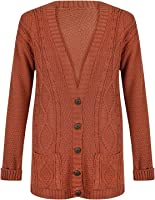 GirlzWalk Womens Ladies Long Sleeves Plus Size Cable Chunky Knitted Grandad Button Cardigan