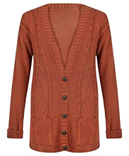 GirlzWalk Womens Long Sleeves Plus Size Cable Chunky Knitted Grandad Button Cardigan (Rust, XXXL 20-22)