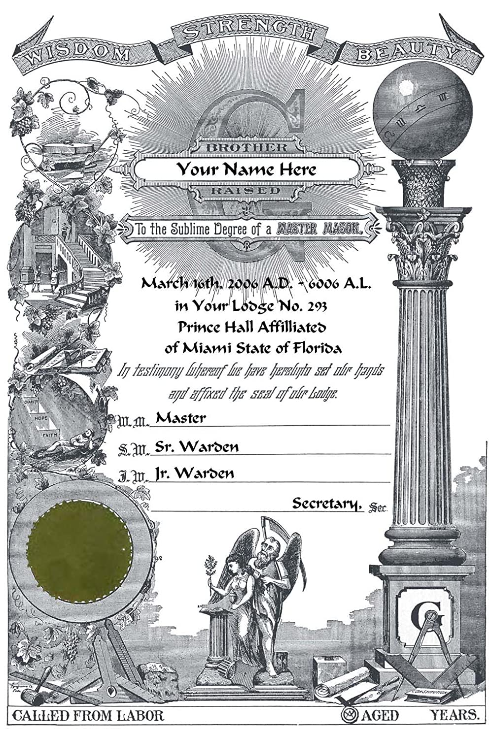 amazoncom personalized prince hall master mason masonic certificate pha art print other products posters prints