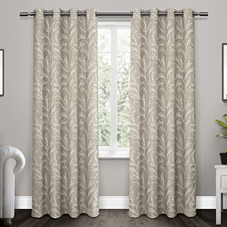 exclusive home curtains kilberry woven blackout grommet top window curtain panel pair dove grey