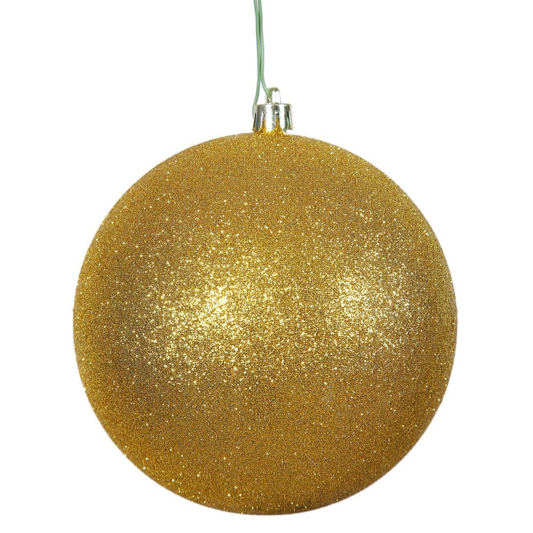 Vickerman N592030DG Glitter Ball Ornament with Shatterproof & UV Resistant, Pre-drilled cap Secured & 6'' of Green Floral Wire, 8'', Antique Gold