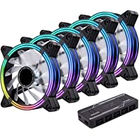 EZDIY-FAB 5-Pack 120mm Dual Frame RGB PWM Fans for PC Case,Addressable RGB Case Fan with Fan Hubs,5V ARGB 3-pin…
