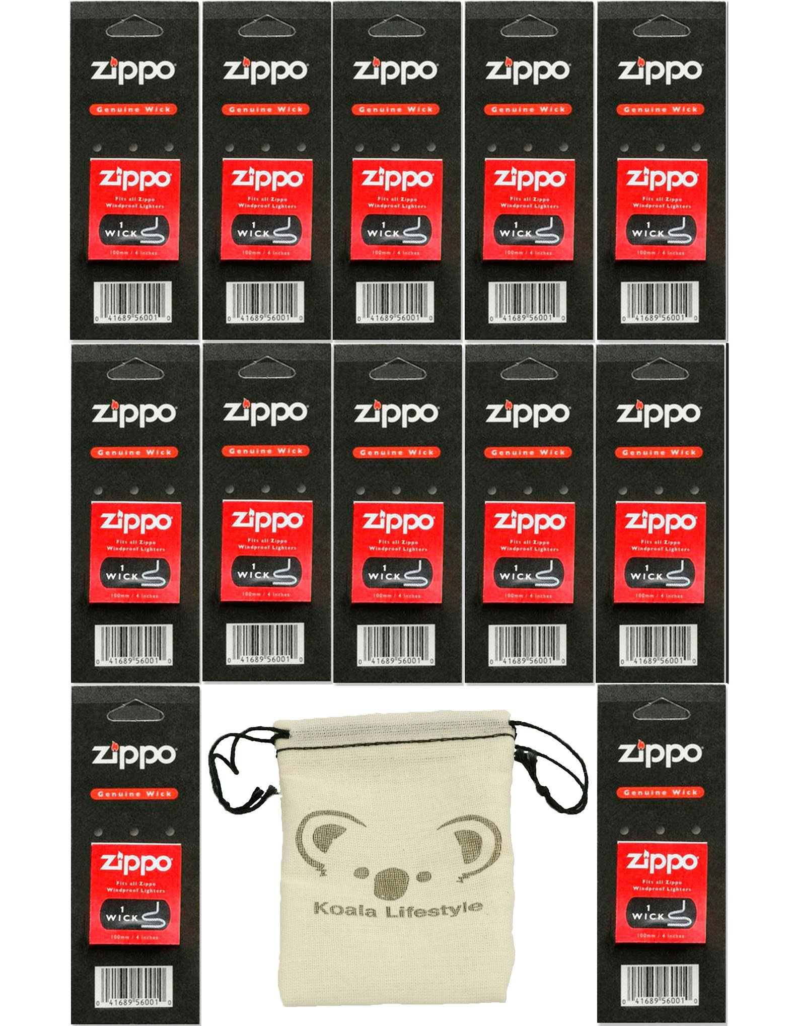 Zippo 12 Wicks Lighter Replacement Set Pack | 12pk Bundle + Pouch