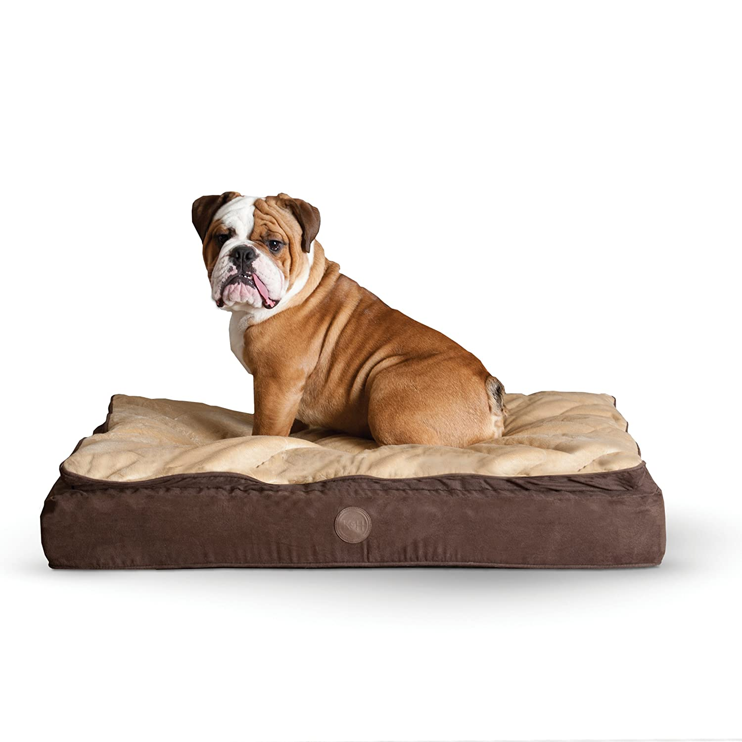 K&H Pet Products Feather-Top Ortho Pet Bed Large Chocolate Tan 40  x 50