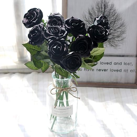 HANDMADE ARTIFICIAL SILVER /& BLACK FLOWER GLITTER BOUQUET NO VASE FREE LIGHTS