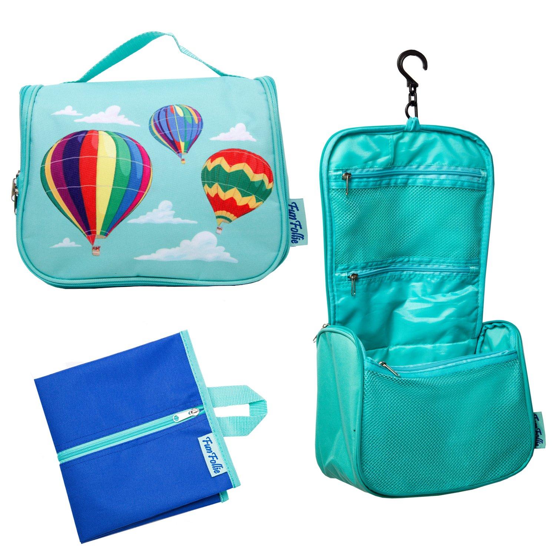 Hanging Toiletry Bag for Women and Men - Large Travel Toiletry Cosmetic Bag, Organizer Makeup Bag, Cute Colorful Toiletry Kit - BONUS Waterproof Matching Shoe Bag