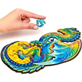 Unidragon Wooden Puzzle Jigsaw, Best Gift for Adults and Kids, Unique Shape Jigsaw Pieces Guarding Dragon, 6.2 х 10.3 in…
