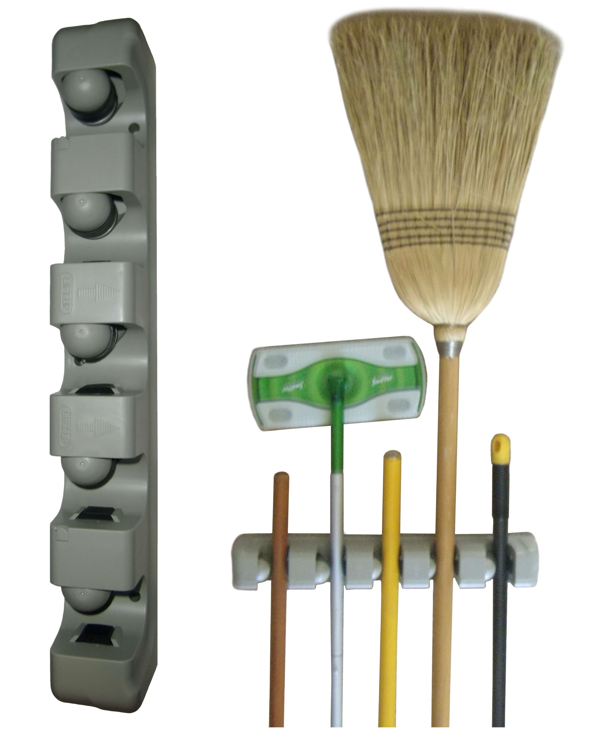 Wall Organizer - Plastic Mop, Broom, and Long-Handled Tool or Sports Equipment Holder System - Mount on the Wall in Your Home's Kitchen or Garage - Hang Items Securely - Great Storage Idea for Staying Organized - Best One Year Guarantee