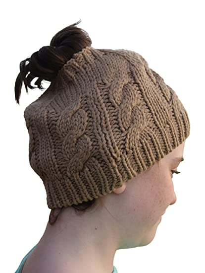 Nickanny s Womens Crochet Messy Bun Beanie Slouchy Style with Hole for Ponytail  Hat Perfect Work Out 4e11d88199a