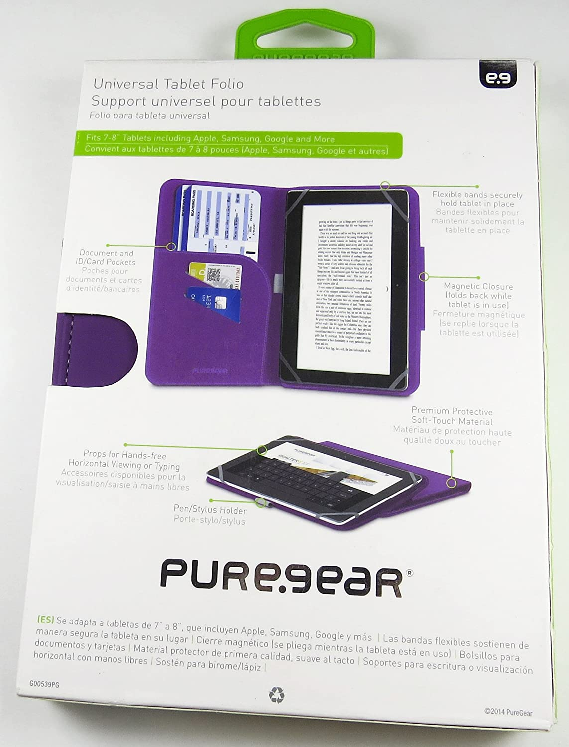 Puregear Universal 7-8 inch Universal Tablet Folio Case with magnetic closure, pen holder, and document/ID pockets in Purple
