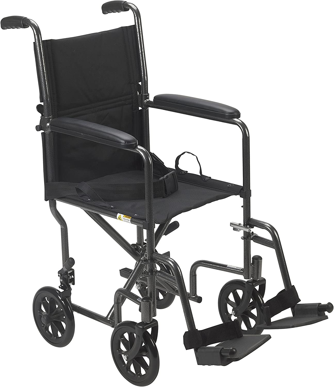 "Drive Medical Lightweight Steel Transport Wheelchair, Fixed Full Arms, 19"" Seat, Silver"