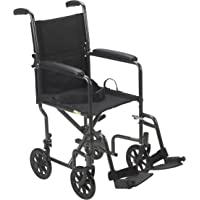 """Lightweight Steel Transport Wheelchair, Fixed Full Arms, 19"""" Seat"""