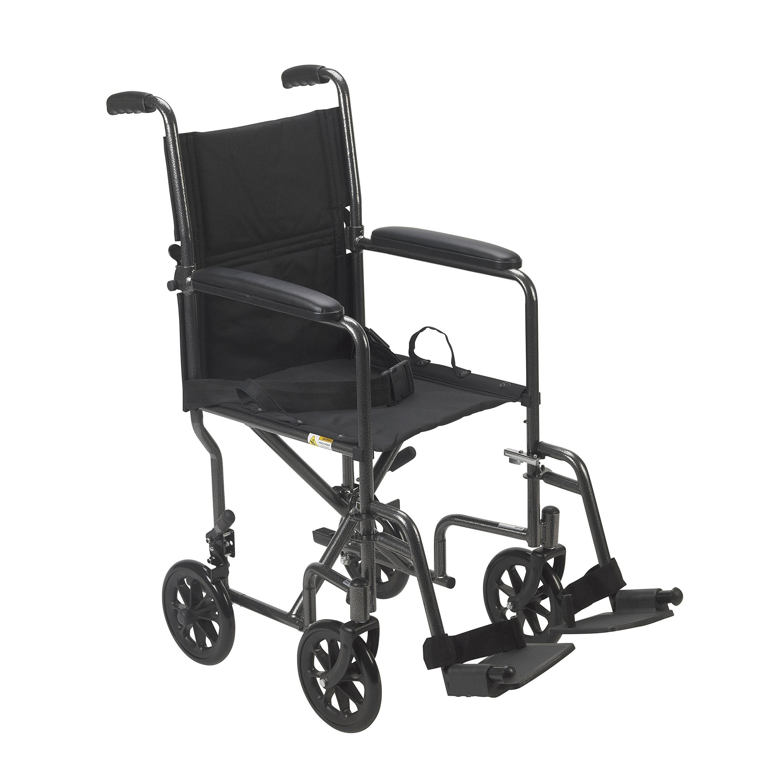 Drive Medical Lightweight Steel Transport Wheelchair, Fixed Full Arms, 19'' Seat, Silver by Drive Medical