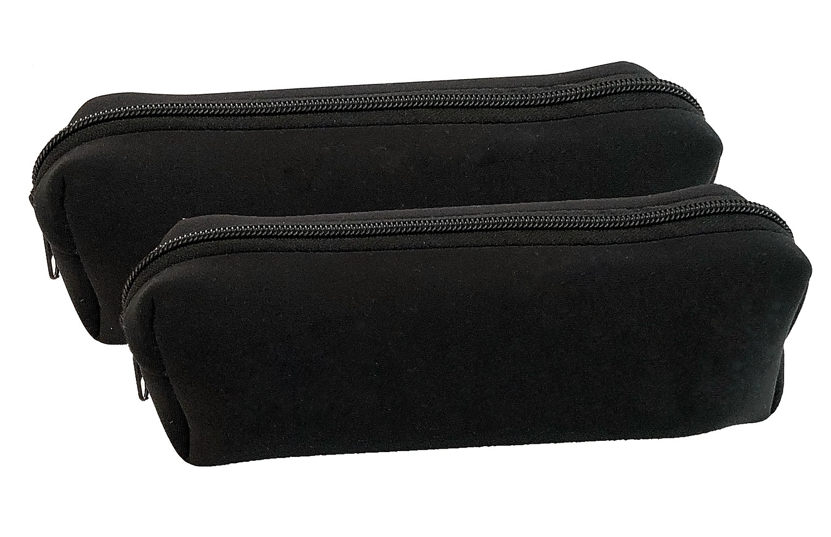 Large Zippered Pencil Case or Pen Pouch for Kids or Adults. Utility Case for Pencils, Pens, School Supplies, Makeup, or Epi-pens. an All Purpose Travel or Accessory Holder. Set of 2, Black
