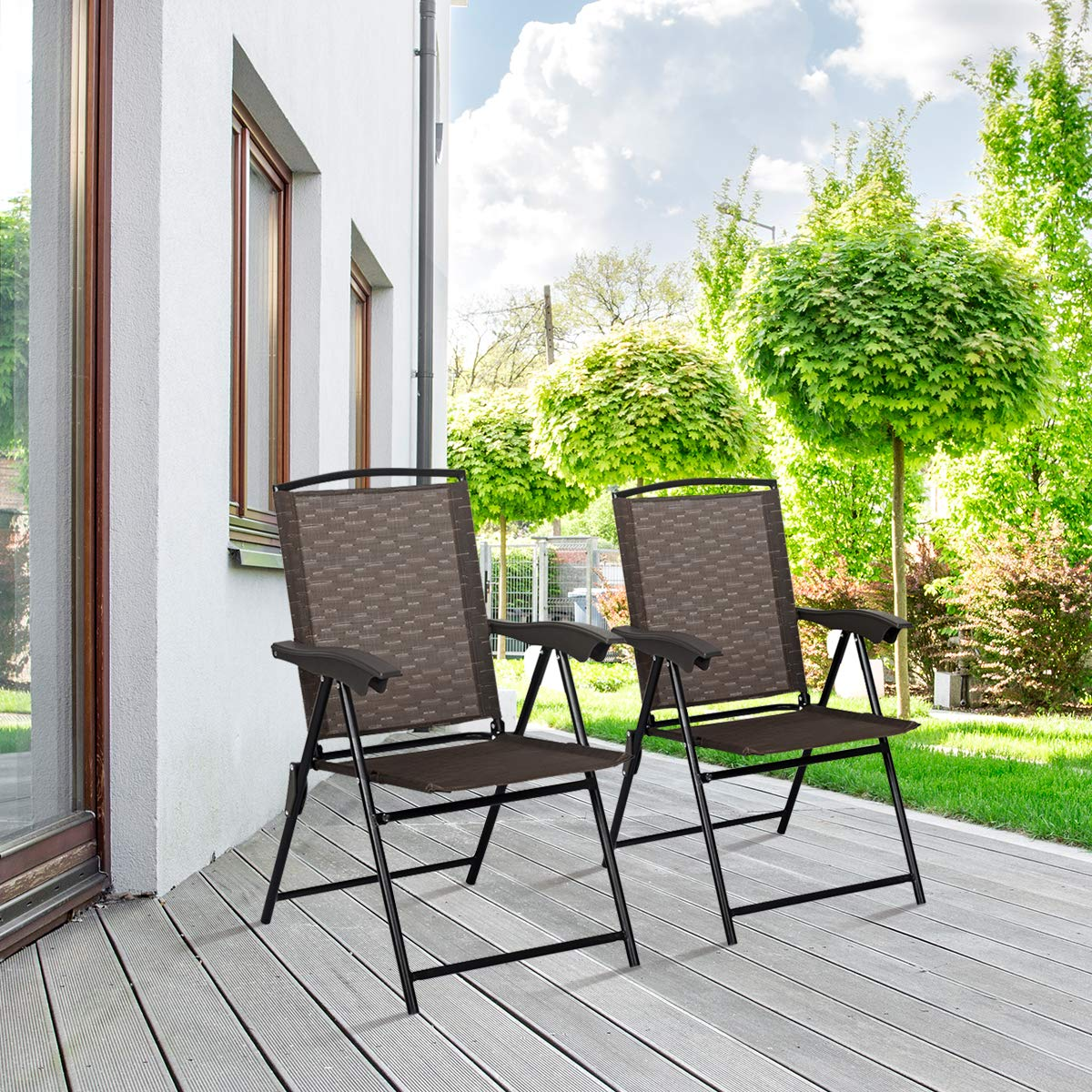 Goplus Sets of 4 Folding Sling Chairs Portable Chairs for Patio Garden Pool Outdoor & Indoor w/Armrests by Goplus (Image #3)