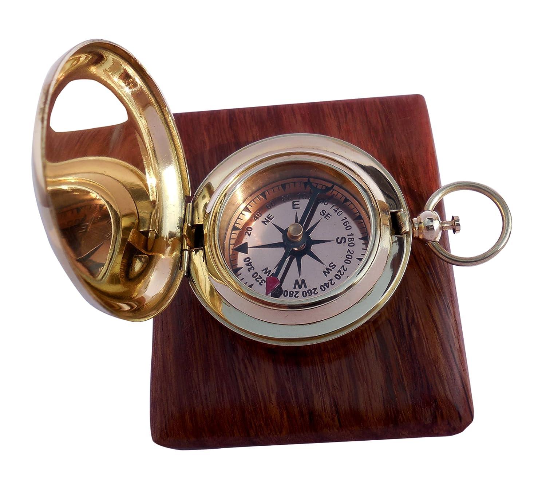 Handmade Brass Push Button Marine Compass