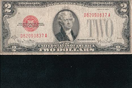Paper Money: Us 1928 G Two Dollar Red Seal Note Circulated