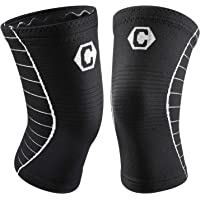 Cambivo Knee Brace Support, Knee Compression Sleeve for Running, Arthritis, ACL, Meniscus Tear, Sports, Relieving Joint Discomfort and Muscle Fatigue - 2 Pack