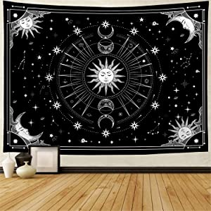 Wekoxo Wall Tapestry, Sun and Moon Tapestry Psychedelic Black and White Tapestry Mystic Stars Tapestries Trippy Black Tapestry Wall Hanging Tapestry for Bedroom Home Decor (H51.2
