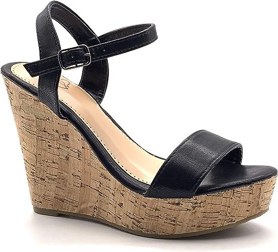 Angkorly Chaussure Mode Sandale Escarpin Hauts Talons FolkEthnique Bohème Femme lanière Simple Basique liège Talon compensé Plateforme 12 CM