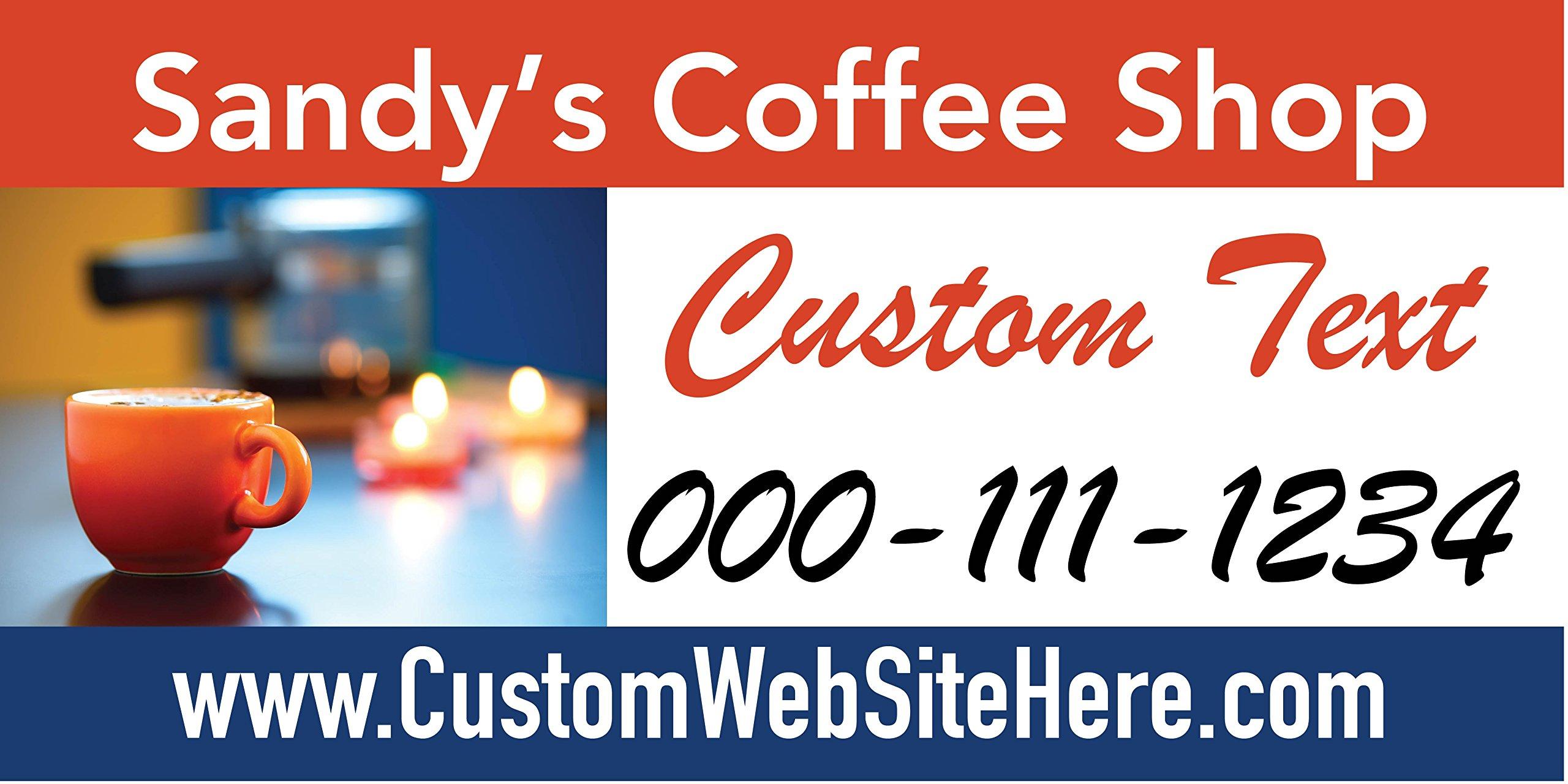 Custom Printed Coffee Shop Banner - Cup (10' x 5')