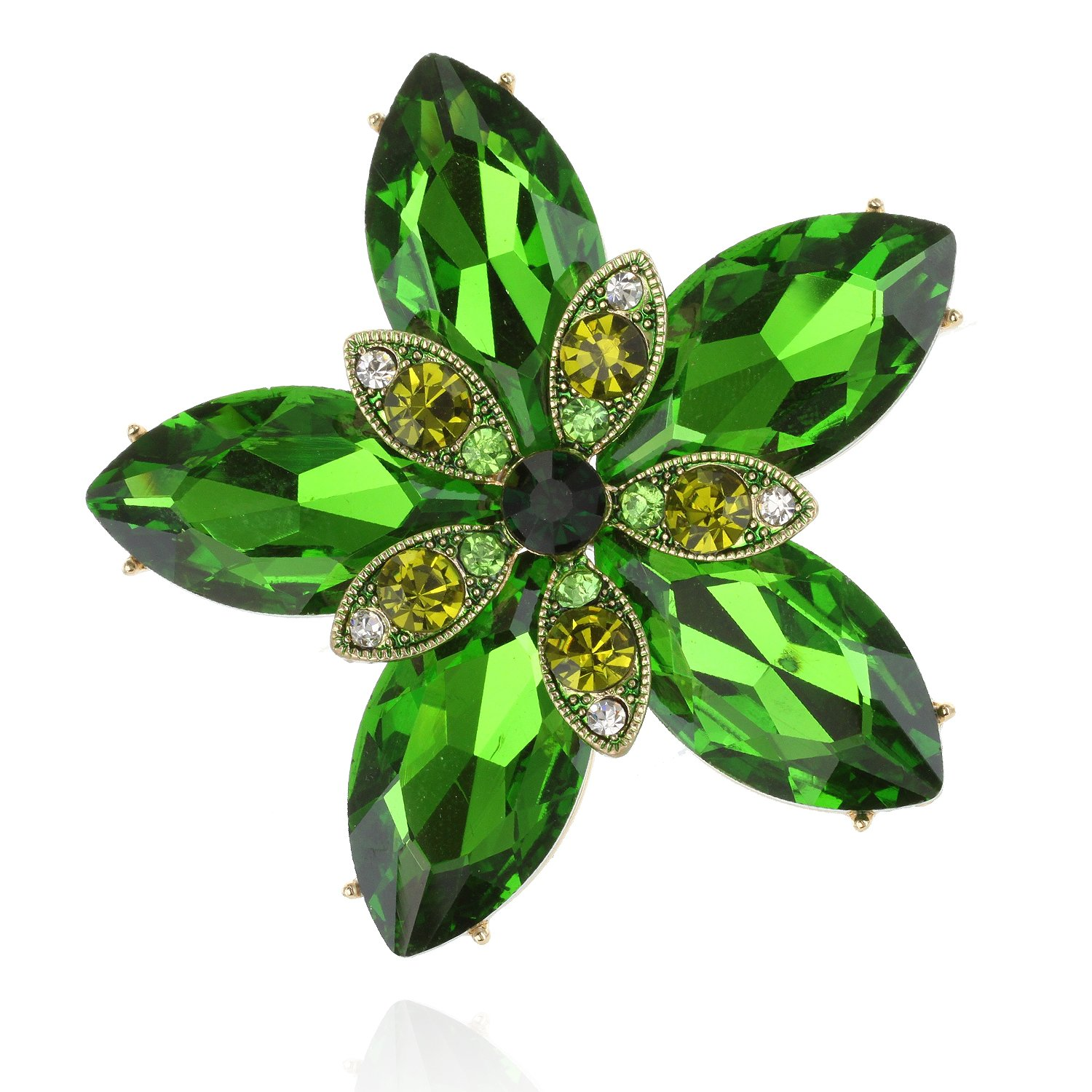 SP Sophia Collection Women's Shining Star Austrain Crystal Wedding Brooch in Green
