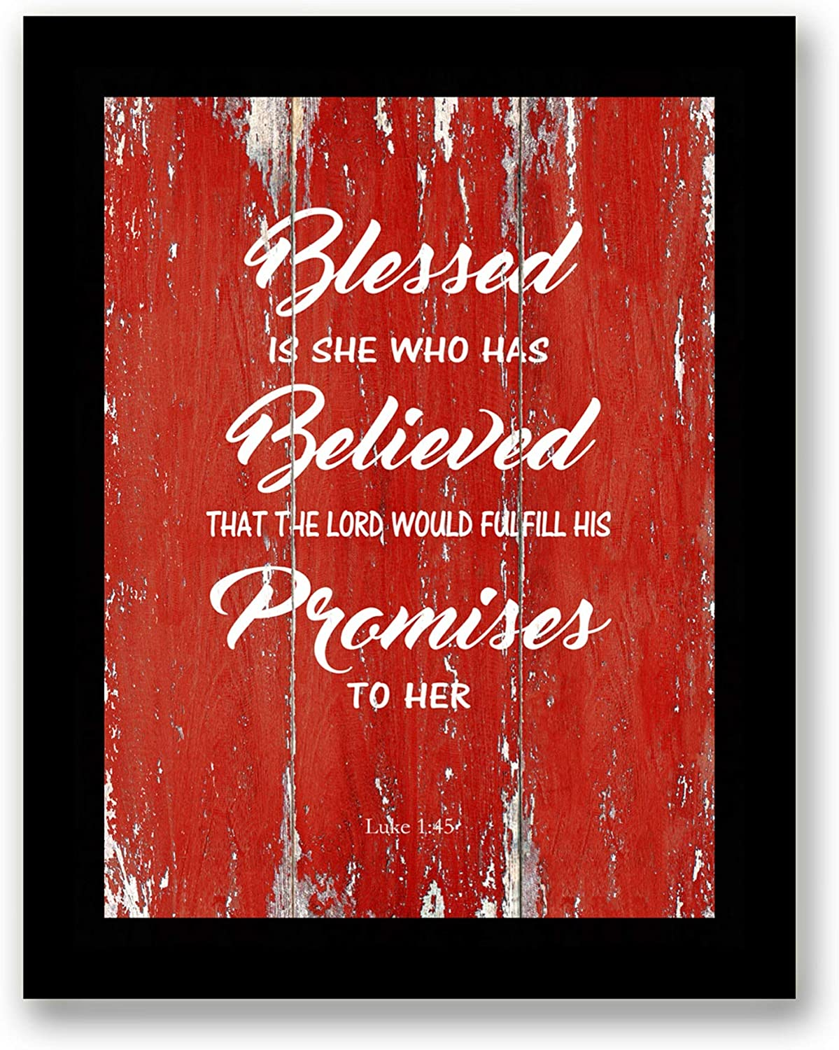 Blessed Is She Who Has Believed Quote Motivational - FRAMED - Canvas Print Home Decor Desk Stand and Wall Art, Black Real Wood Frame, Red, 7x9