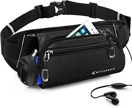 Lightweight Fanny Pack Nylon Waist Bag with Earphone Hole Mens Womens Breathable Bum Bag fit 6 Phone B