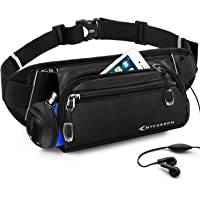 MYCARBON Running Belt with Water Bottle Holder,Waterproof Sport Bum Bag,Cycling Waist Bag Dog Walking Bag Jogging Belt for Exercise,Travel,Outdoor Activities for Phones Below 6 inch