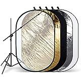 "HAUSER & PICARD Multi-Faltreflektor ""Yokino"" 110 x 170 cm 43"" x 66"" Schwarz, Silber, Gold, Weiß, Diffus mit Reflektorhalter by eSmart Germany"
