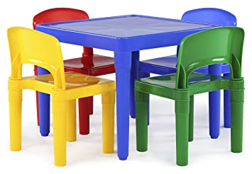 Tot Tutors Kids Plastic Table And 4 Chairs Set, Primary Colors (Primary  Collection)