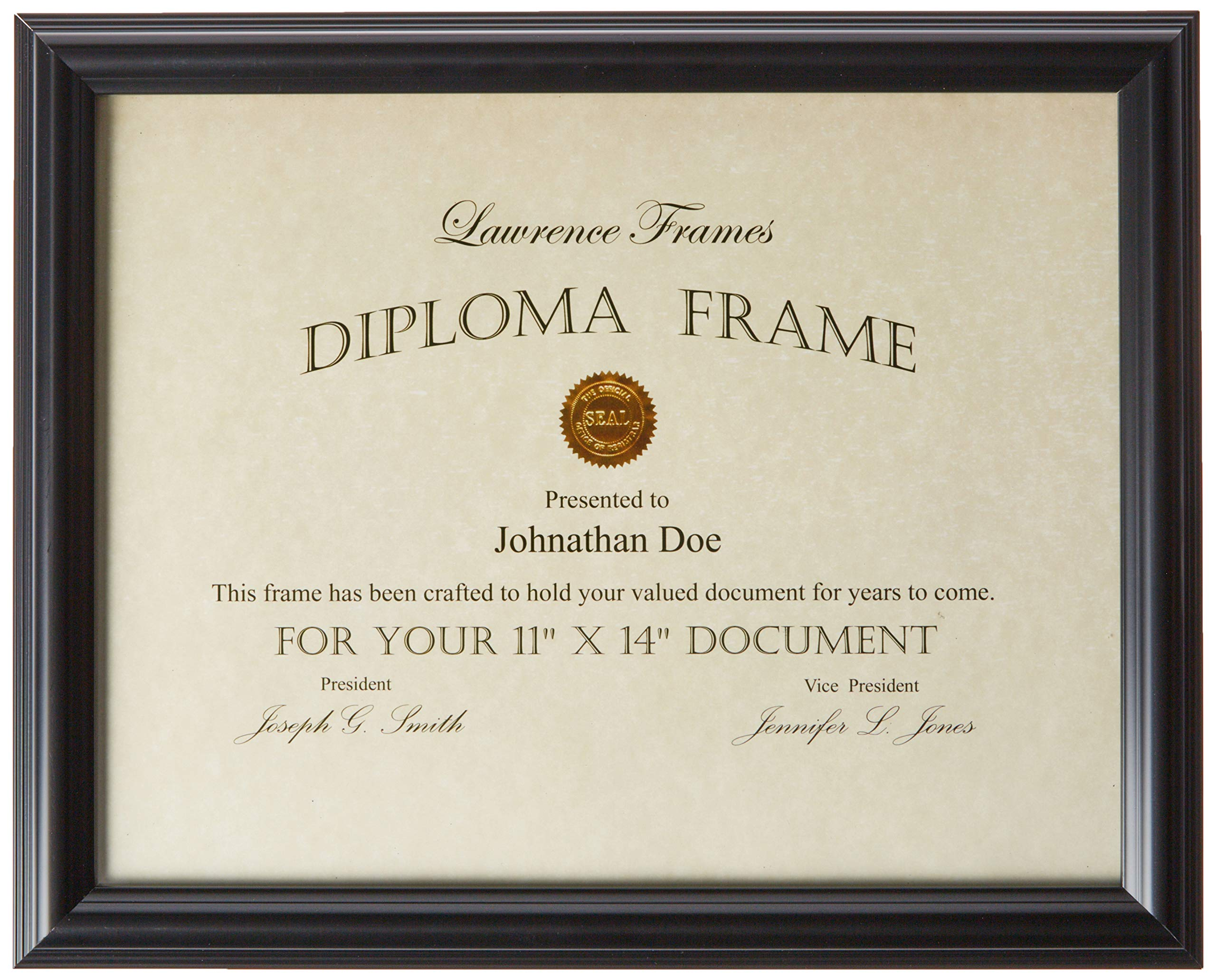 Lawrence Frames 11 by 14-Inch Black Diploma Frame, Domed Top