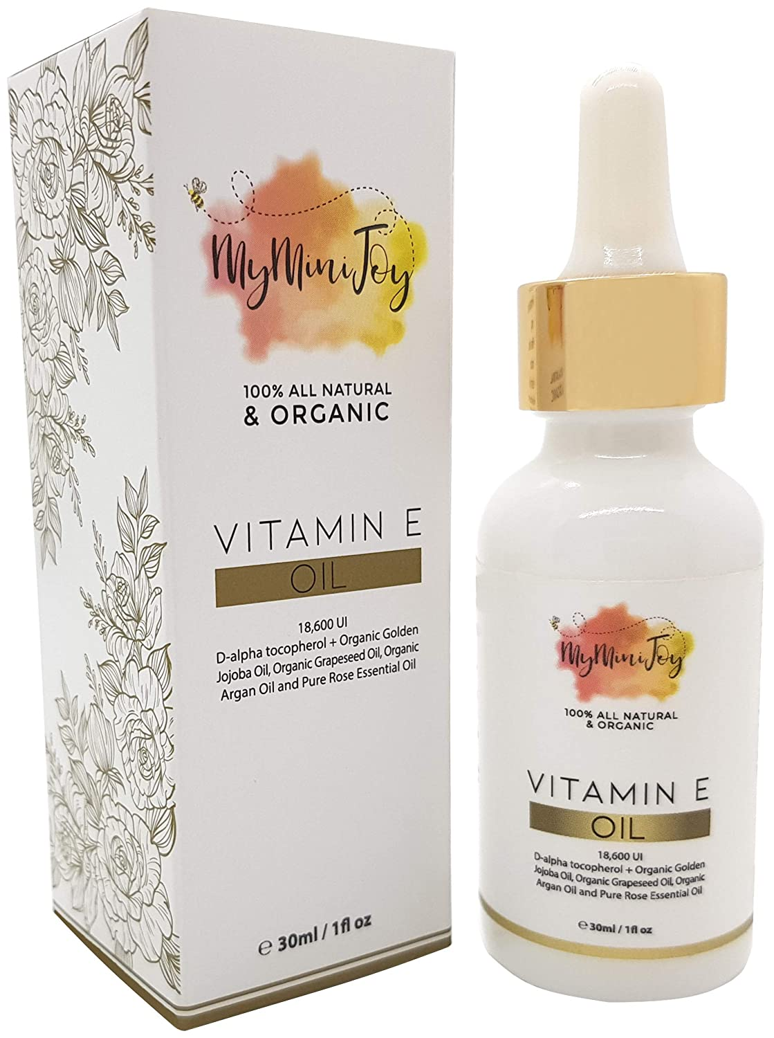 Vitamin E Oil 100% All Natural Pure & Organic Cold Pressed for Face and Skin, Prevents Pregnancy Stretch Marks & Winkles, For Scars & Dark Spots with Moisturizing Jojoba, Argan & Rosehip Oil, NON-GMO