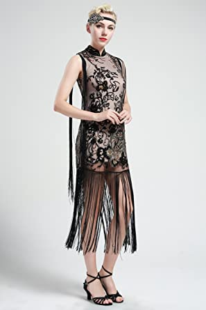 BABEYOND Floral Beaded Vintage 1920s Fringe Gatsby Art Deco Flapper Dress (Medium): Amazon.co.uk: Clothing