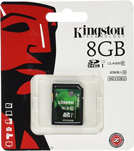 Kingston Digital 8 GB SDHC/SDXC Class 10 UHS-1 Flash Memory Card 30MB/s (SD10V/8GB)