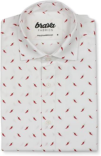 Brava Fabrics | Camisa Hombre Manga Corta Estampada | Camisa Blanca para Hombre | Camisa Casual Regular Fit | 100% Algodón | Modelo Hot Chili White Edition | Talla 3XL: Amazon.es: Ropa y accesorios