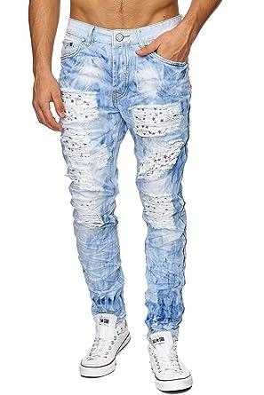Megastyl Herren Hose Hellblau Slimfit Kleine Jeans Destroyed Sternen Muster WED29IH
