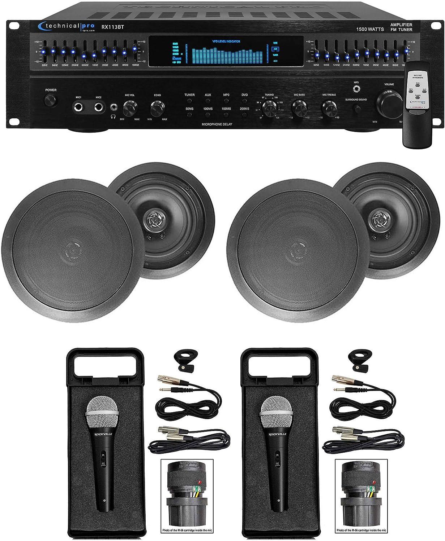 """1500 Watt Home Karaoke Machine System+(2) 6.5"""" Black Ceiling Speakers"""