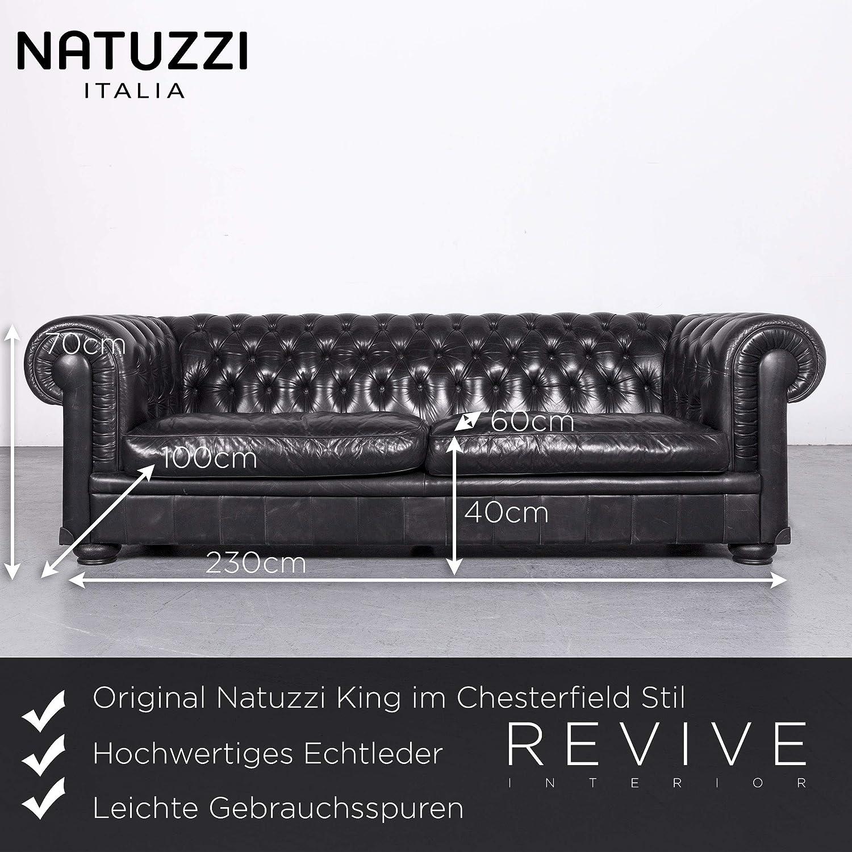 Natuzzi King Chesterfield Stil Leder Sofa Schwarz Echtleder ...