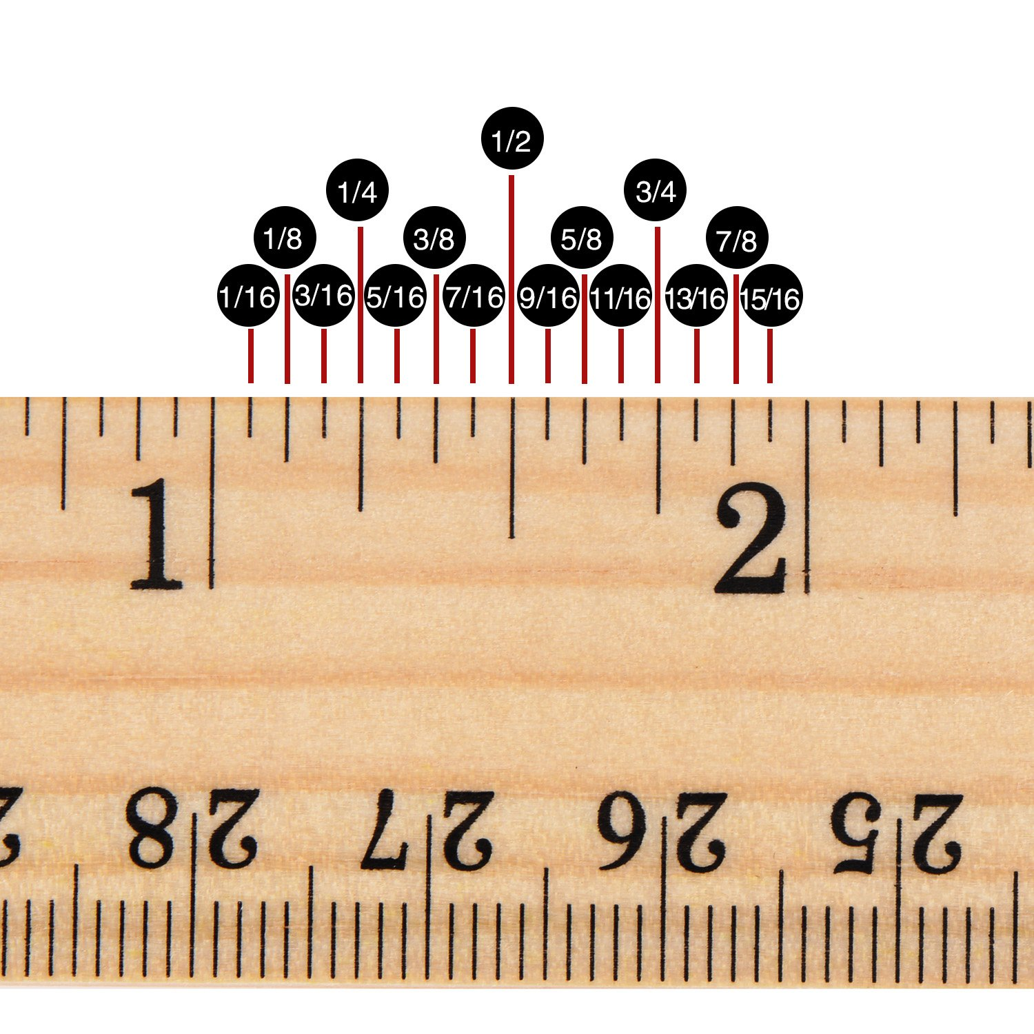 12 Inch and 30 cm 2 Scale 12 Pack Wood Ruler Student Rulers Wooden School Rulers Office Ruler Measuring Ruler